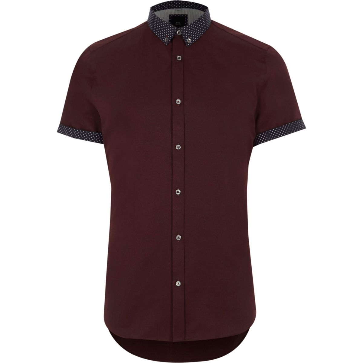 Red ditsy collar short sleeve slim fit shirt