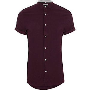 Rood skinny-fit overhemd met textuur en korte mouwen