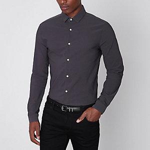 Graues, strukturiertes Skinny Fit Hemd mit langen Ärmeln