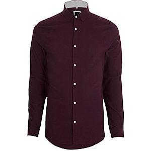Chemise skinny texturée rouge à manches longues