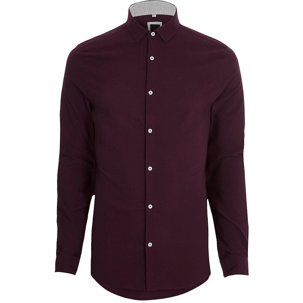 Red textured long sleeve skinny fit shirt