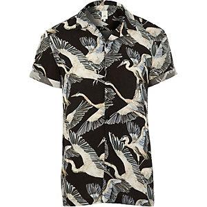 Zwart overhemd met korte mouwen en vogelprint