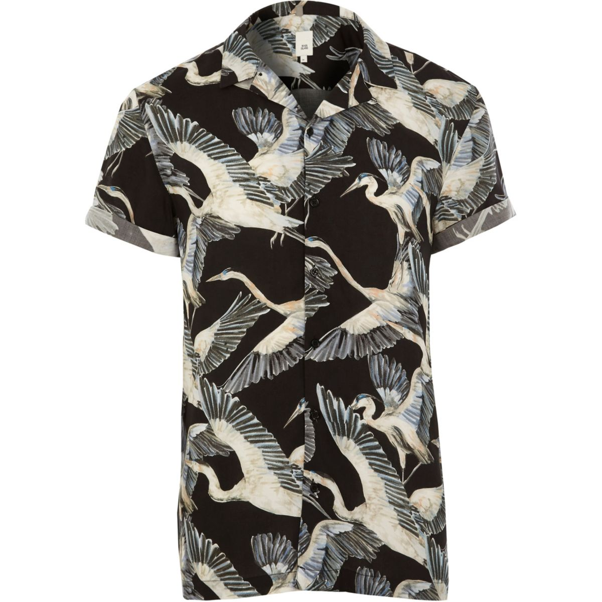 Black bird print short sleeve shirt
