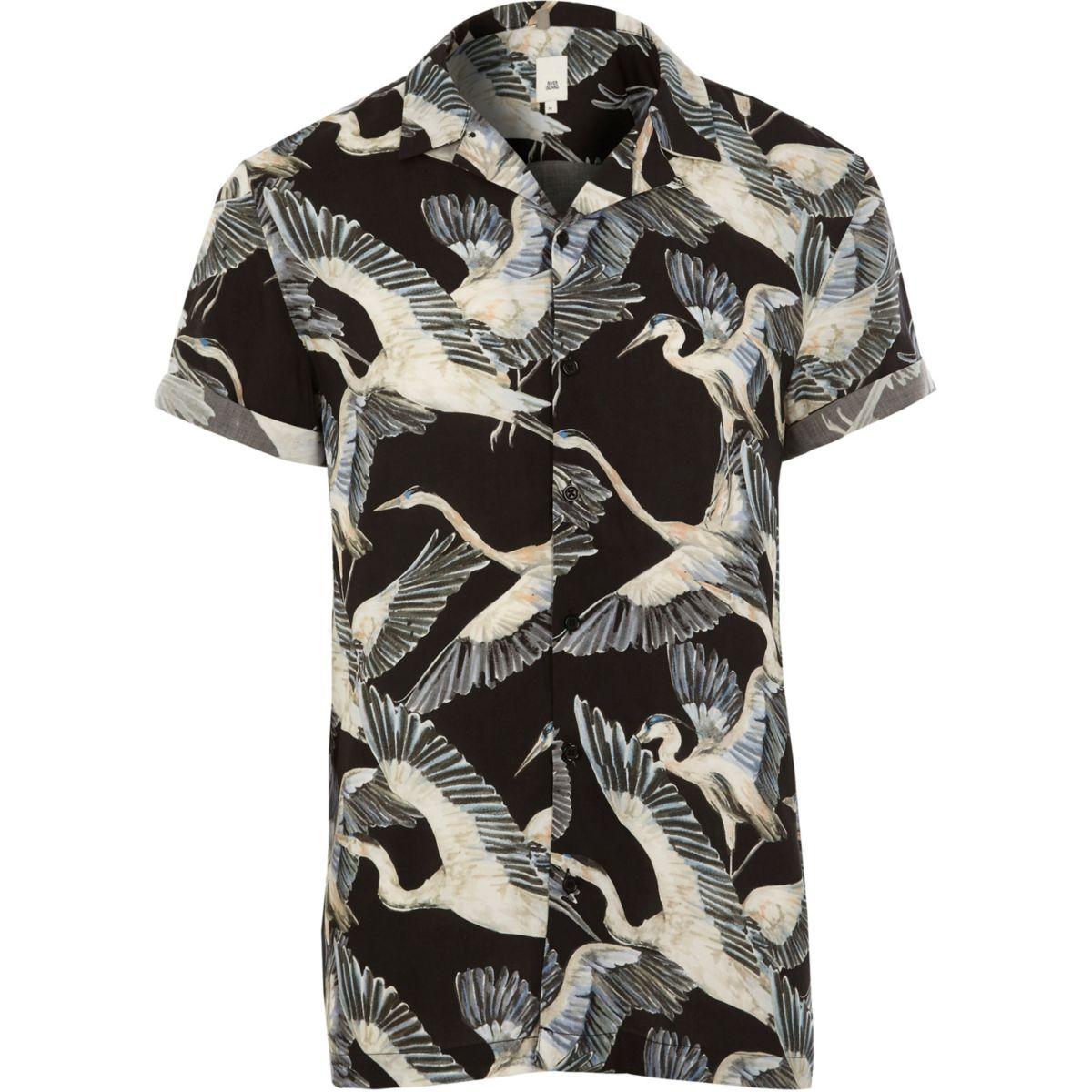Chemise manches courtes à imprimé oiseaux noir