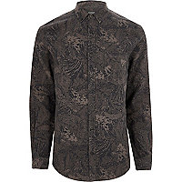 Grey abstract print slim fit shirt
