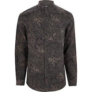 Grijs slim-fit overhemd met abstracte print