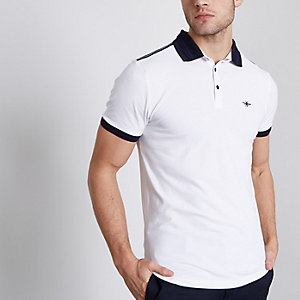 White msucle fit short sleeve polo shirt