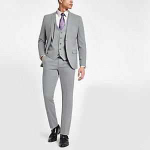 Hellgraue Skinny Fit Anzughose mit Stretch