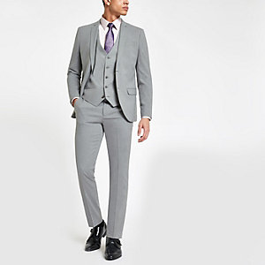 Light grey stretch skinny fit suit pants