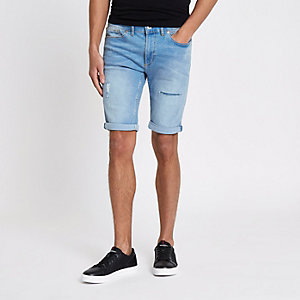 Light blue ripped Sid skinny denim shorts