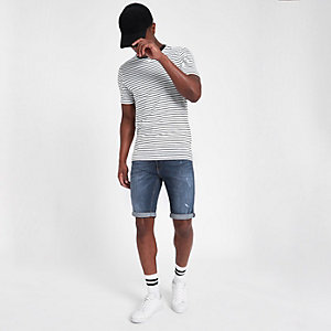 Sid - Middenblauwe distressed skinny denim short