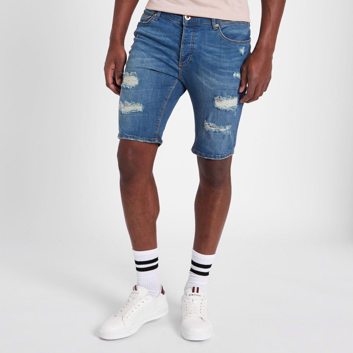 Blue Sid ripped skinny denim shorts