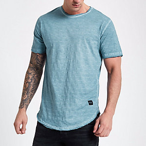 Only & Sons blue slub T-shirt