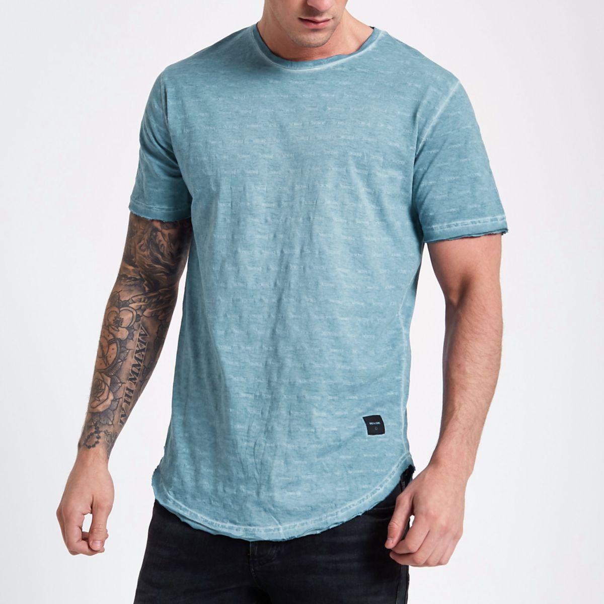 Only & Sons blue slub T-shirt