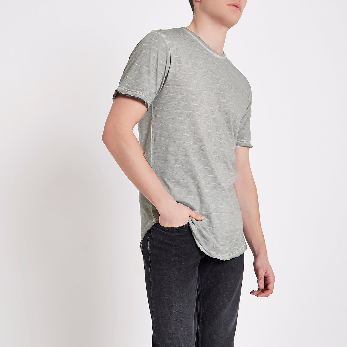 Only & Sons grey slub T-shirt