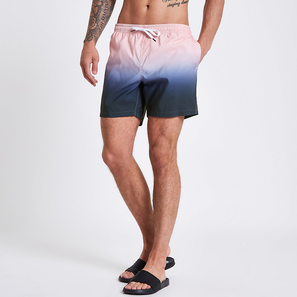 Pink and blue dip dye swim shorts