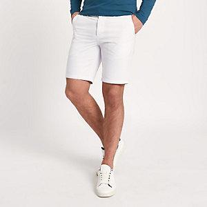 Witte slim-fit chino short