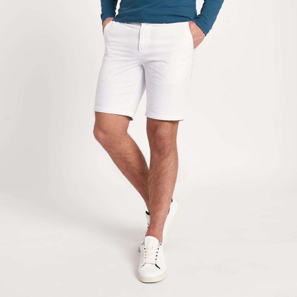 White slim fit chino shorts