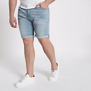 Big & Tall – Hellblaue Jeansshorts im Used Look