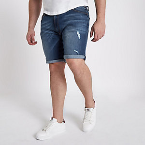 Big & Tall – Blaue Jeansshorts im Used Look
