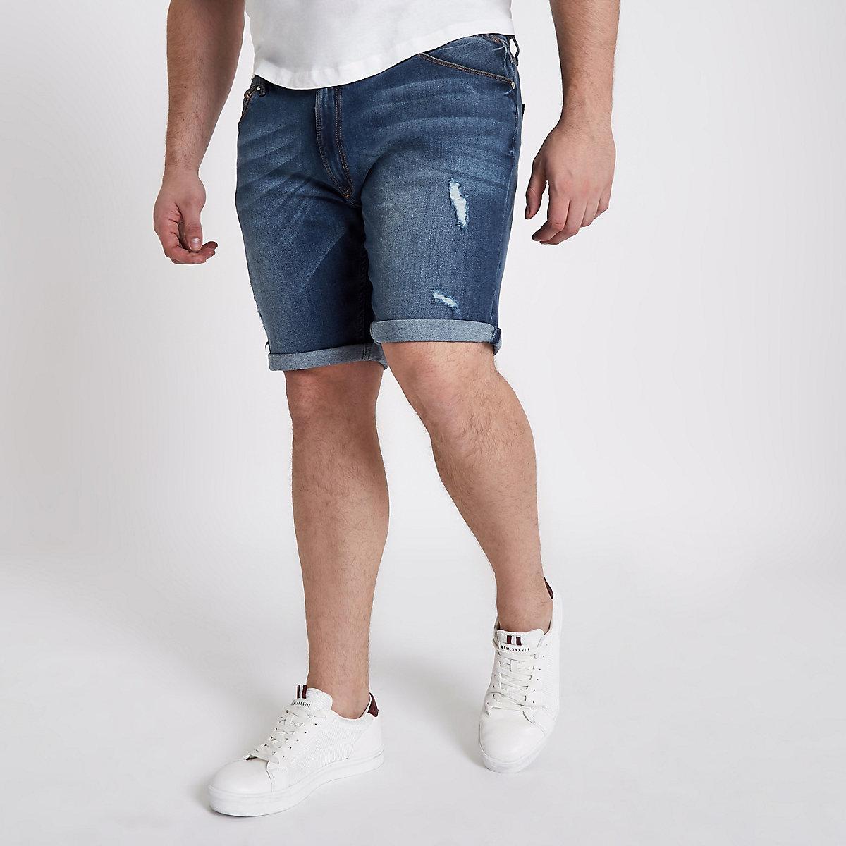 Big & Tall – Blaue Jeansshorts im Used Look