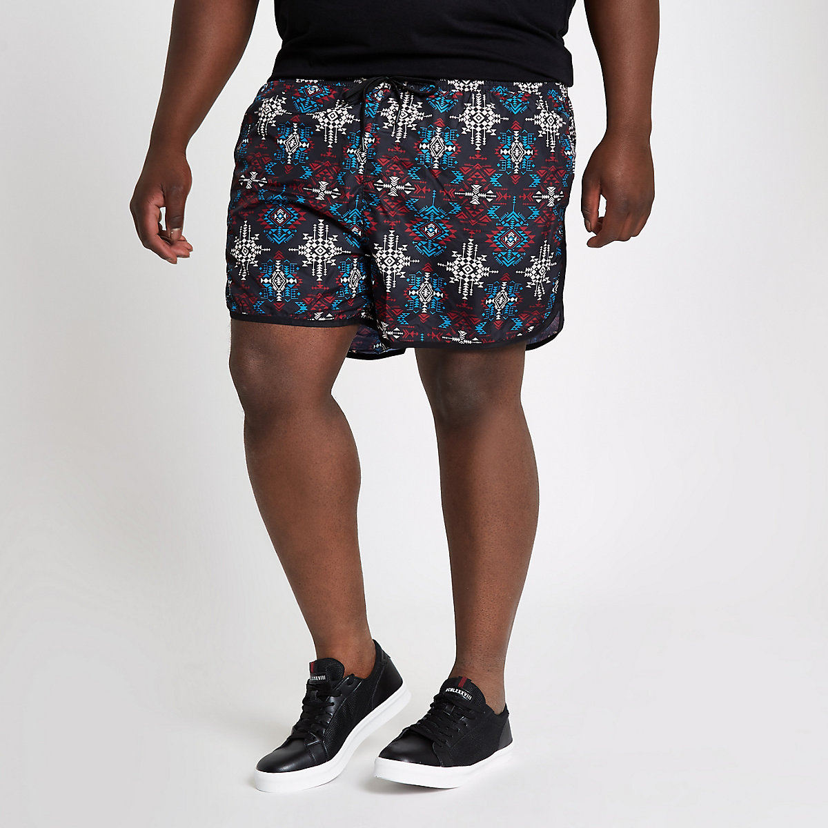 Big and Tall black aztec short swim trunks
