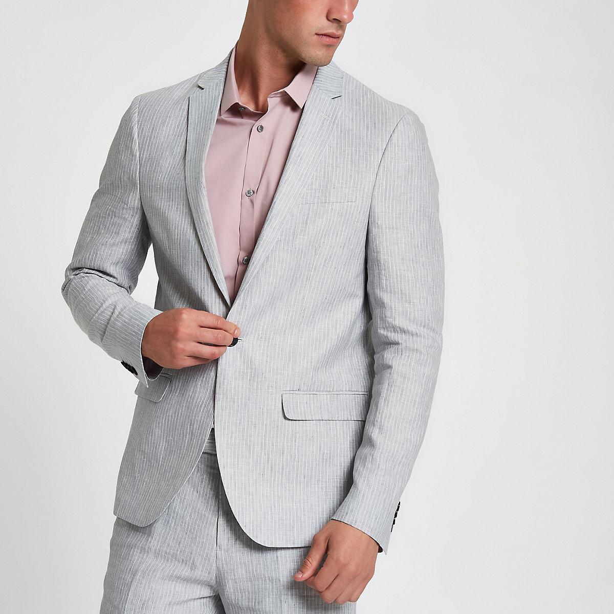 Grey linen stripe skinny suit jacket