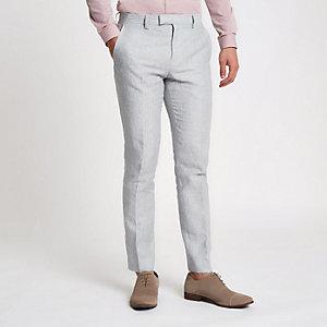 Graue, gestreifte Skinny-Anzughose aus Leinen