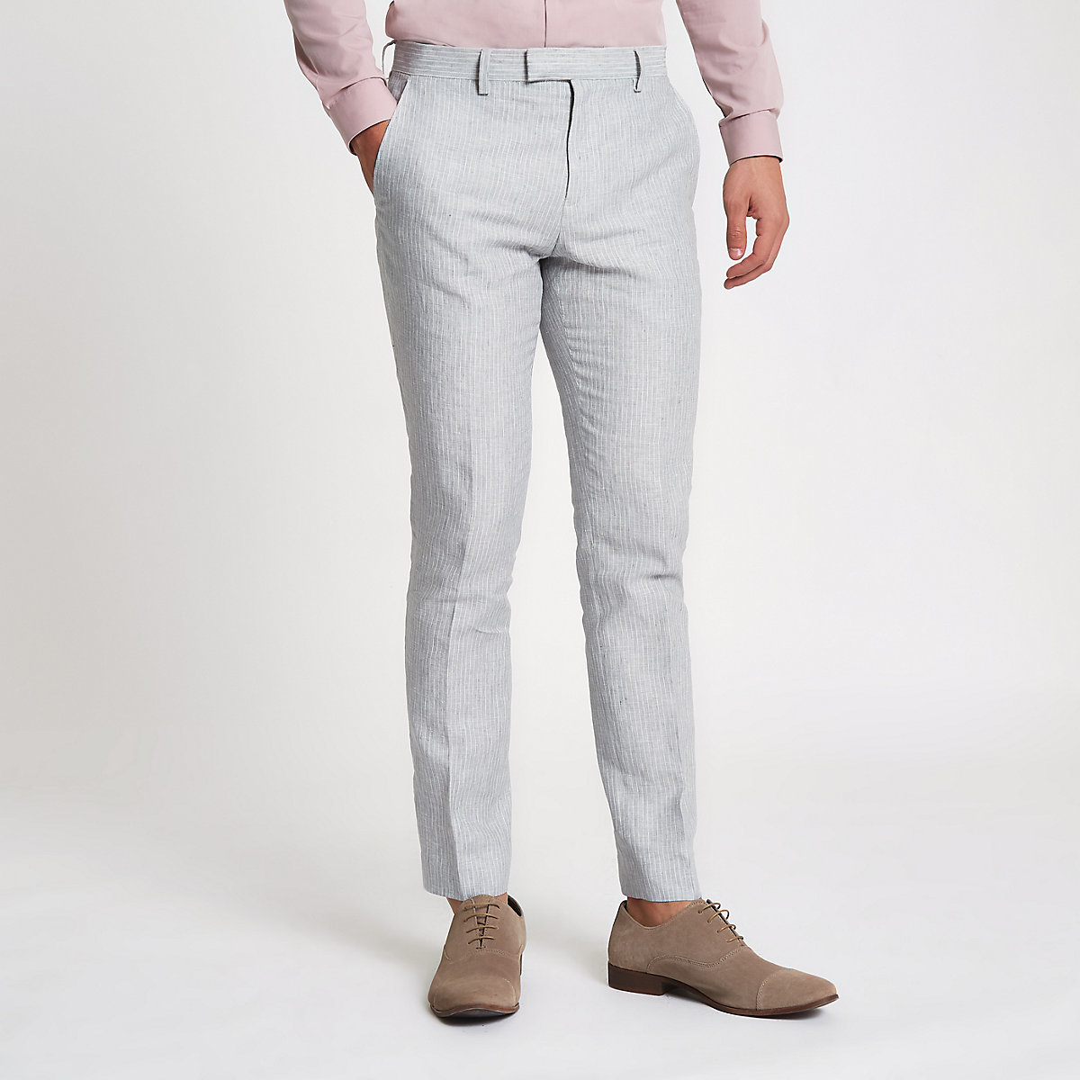 Grey linen stripe skinny suit pants