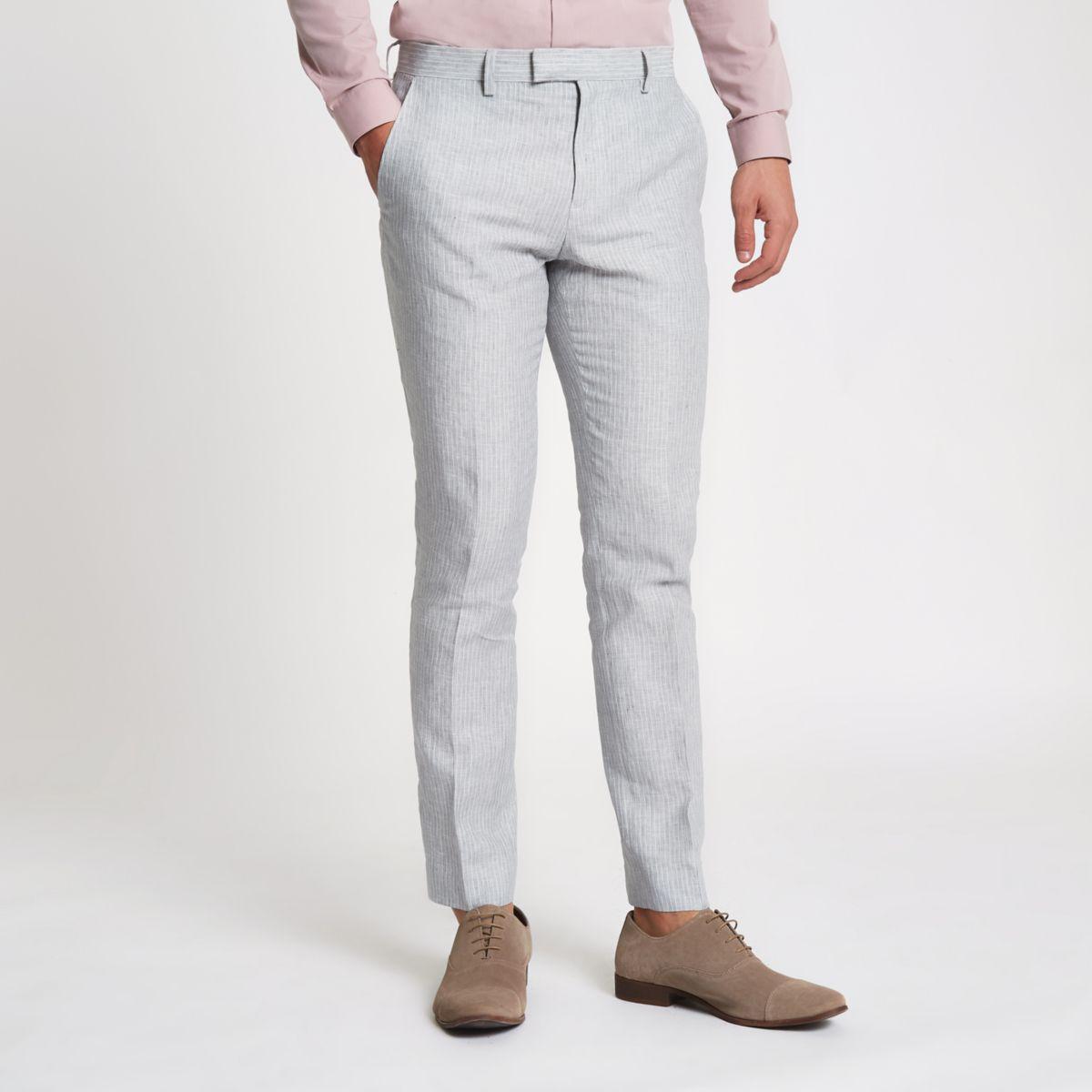 Grey linen stripe skinny suit trousers
