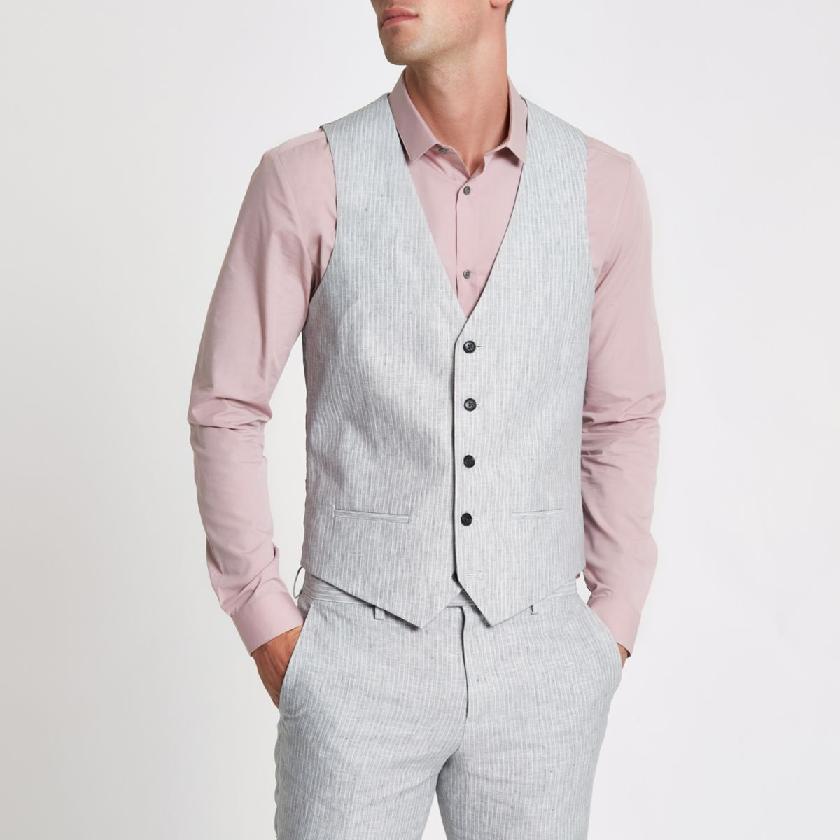 Grey linen stripe vest
