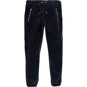 Marineblaue Velours-Jogginghose