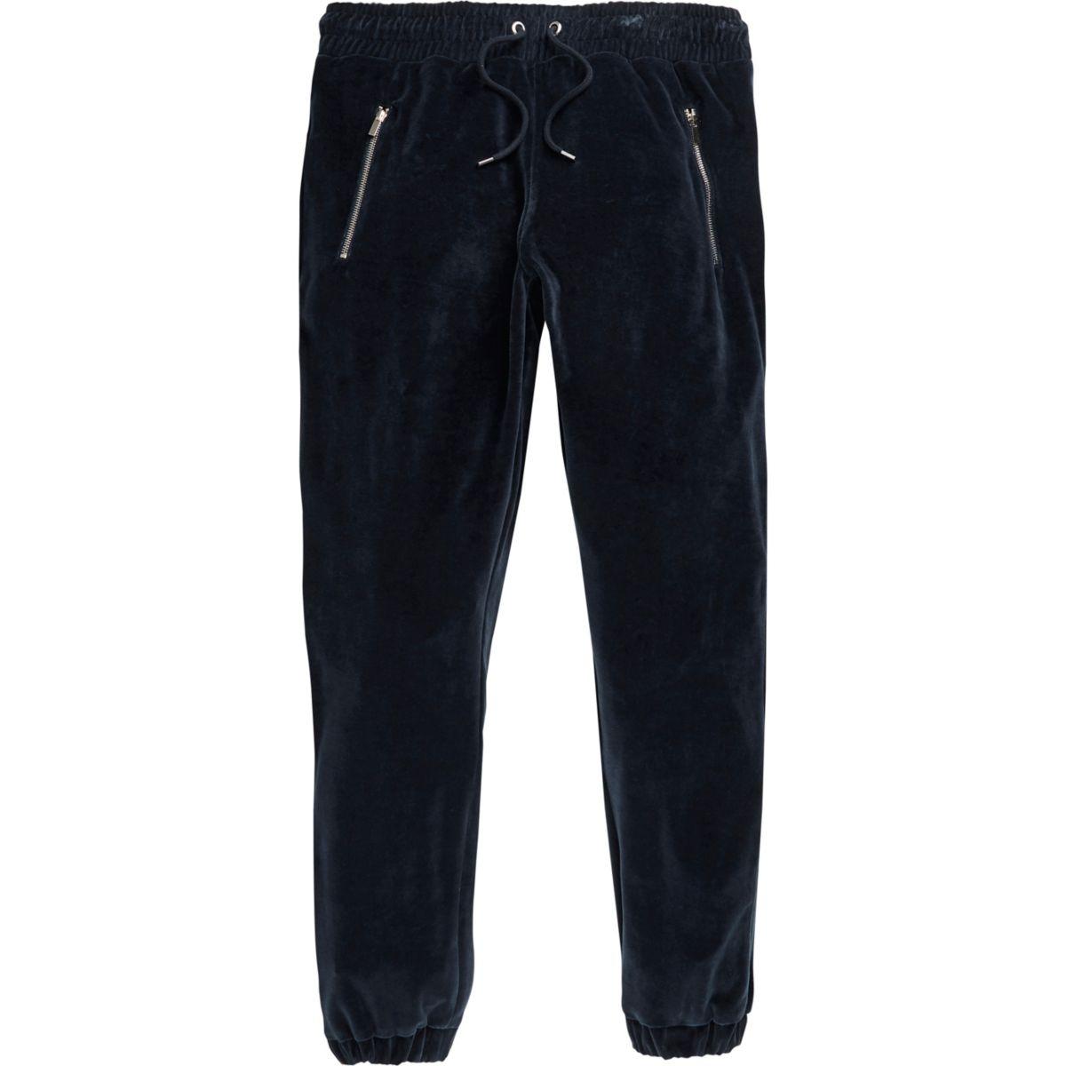 pantalon de jogging en velours bleu marine cadeaux promo homme. Black Bedroom Furniture Sets. Home Design Ideas