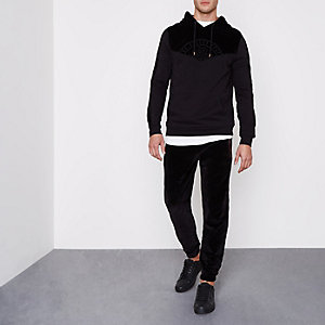 Zwarte fluwelen joggingbroek