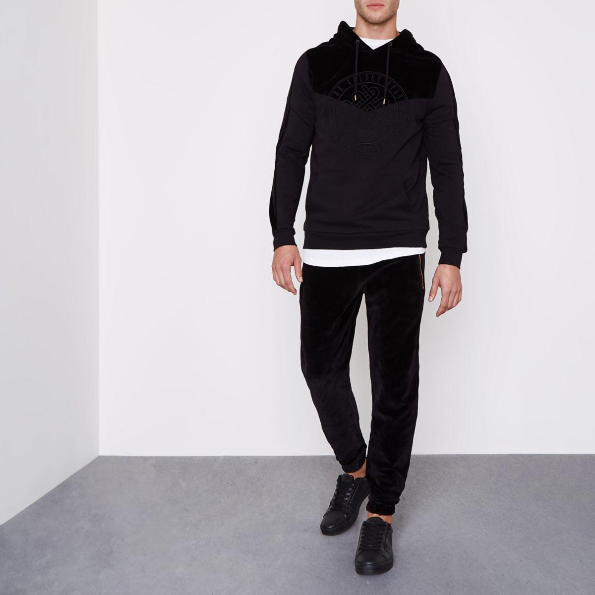 Pantalon de survêtement en velours noir
