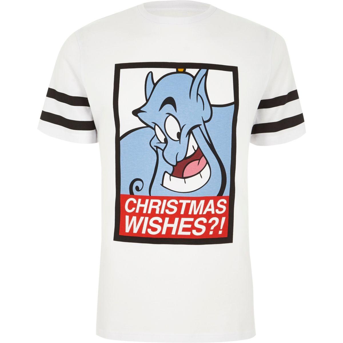 White Aladdin Christmas print T-shirt