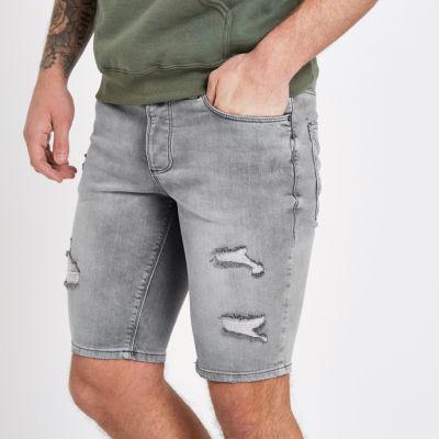 River Island Sid - Short en jean skinny gris déchiré