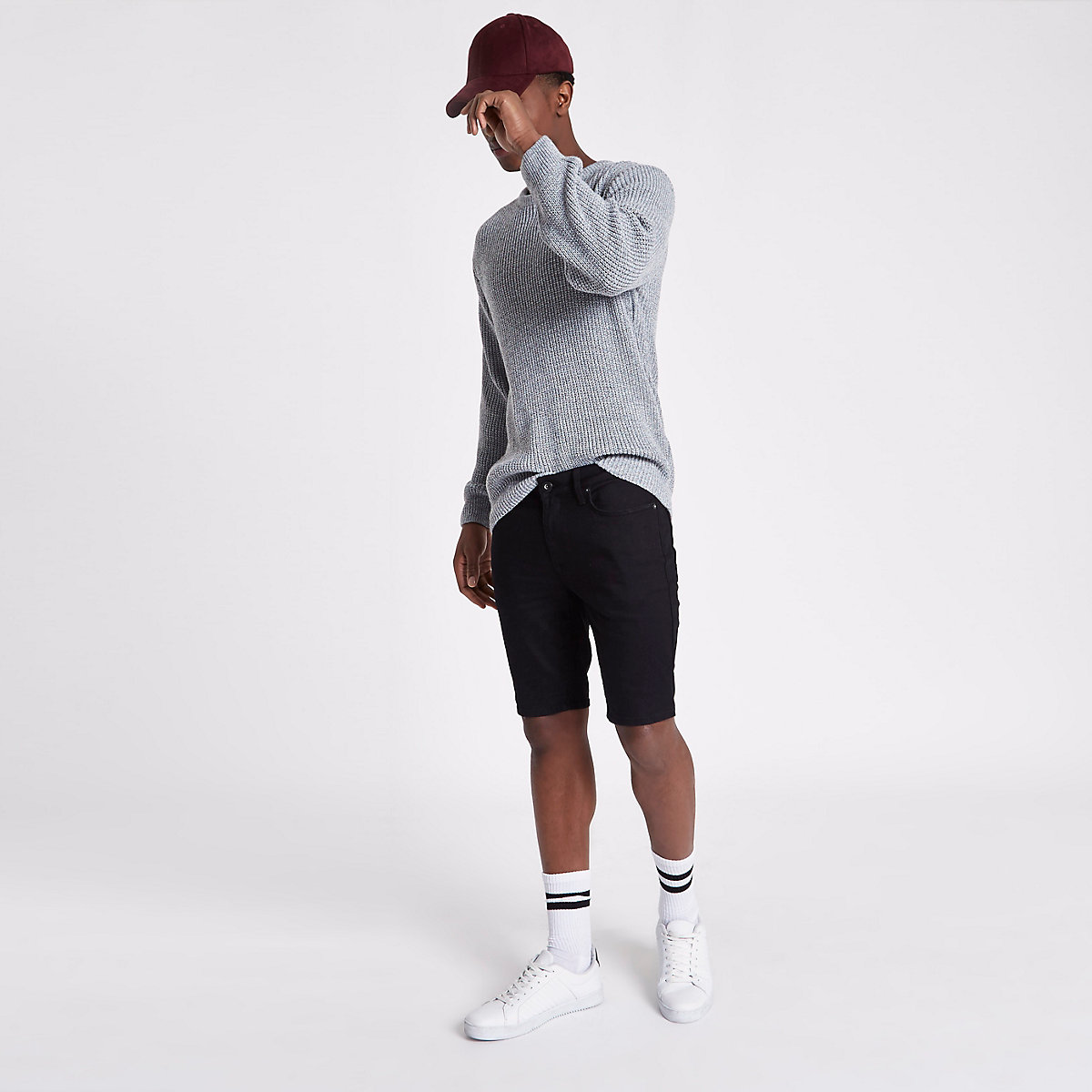 Sid – Short en jean skinny noir