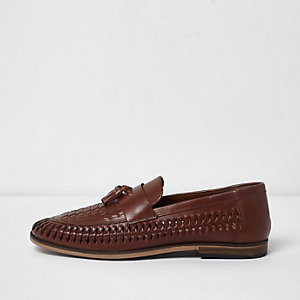 Tan brown leather woven tassel loafers