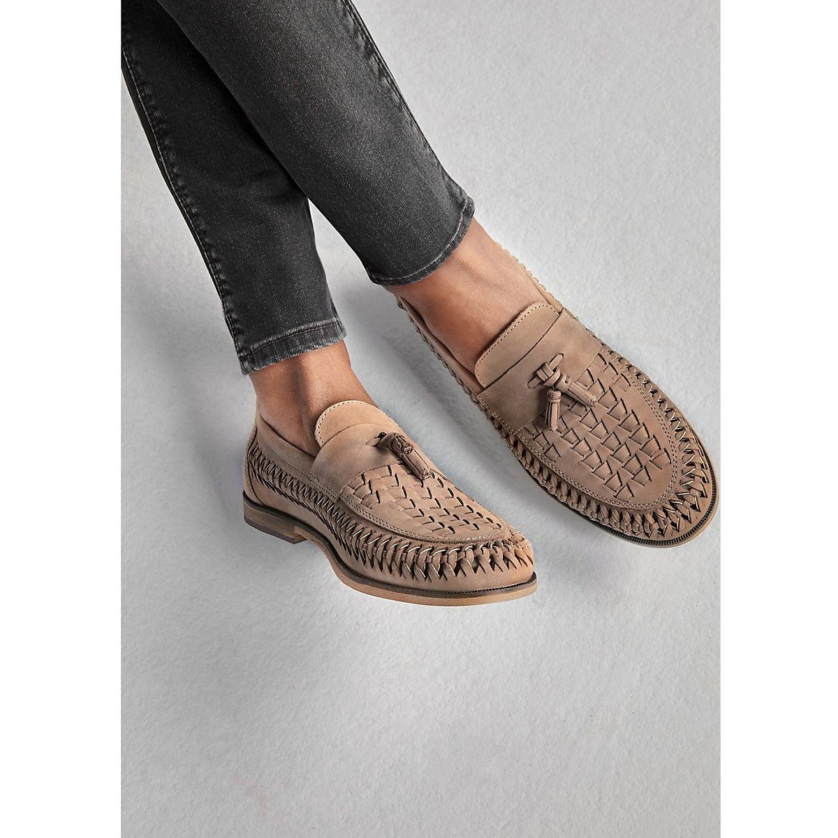Stone leather woven tassel loafers