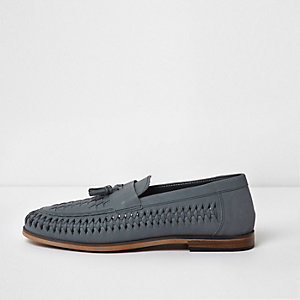 Blue leather woven tassel loafers