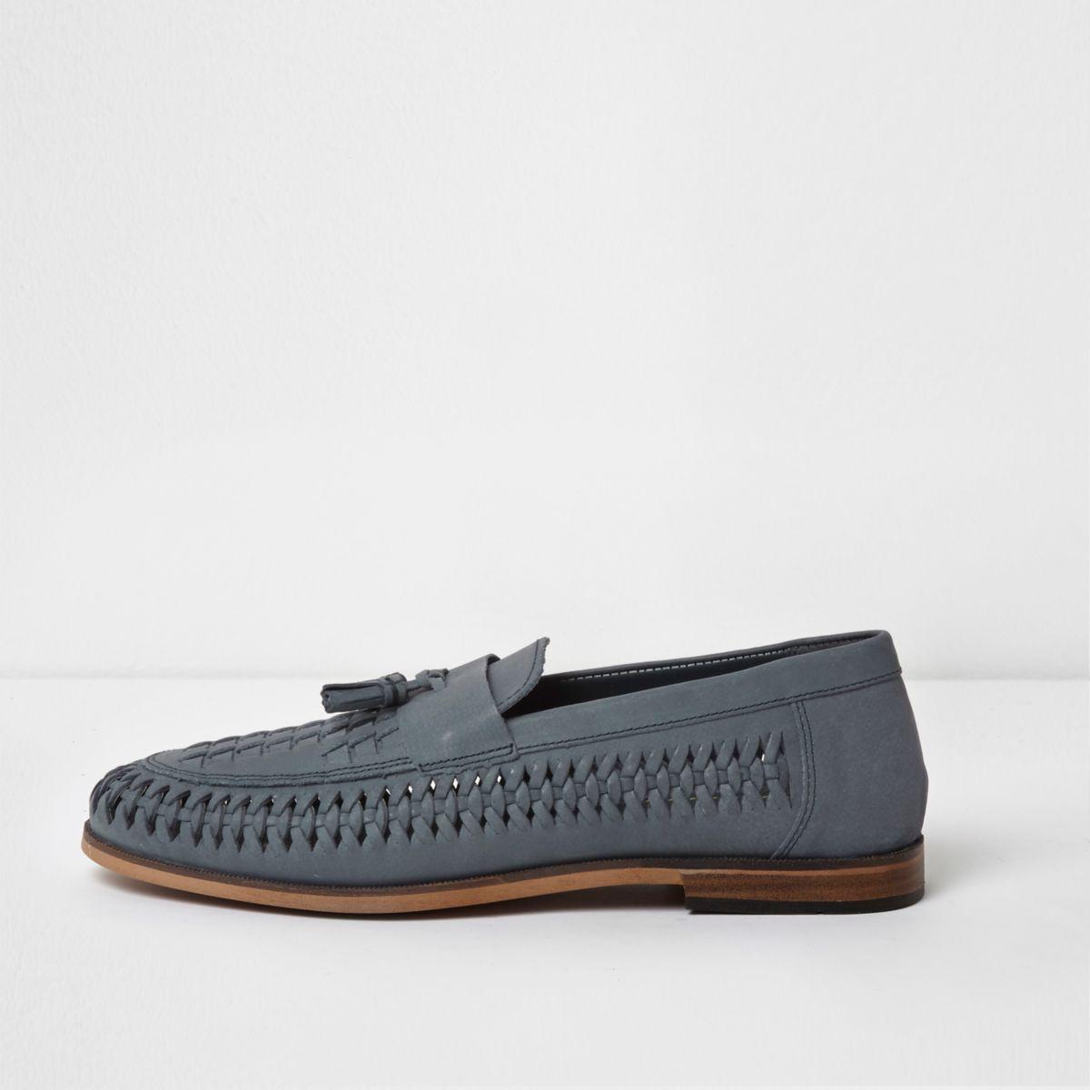 Blaue Loafer mit Quaste
