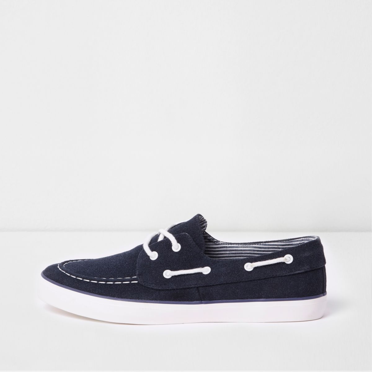 Navy lace-up boat shoes