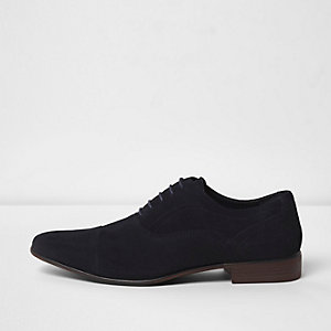 Chaussures Oxford en daim avec bout rapporté bleu marine