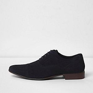 Marineblauwe suède Oxford schoenen met klassieke neus