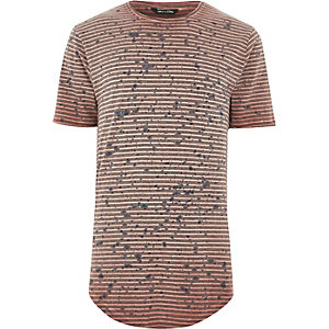 Red Only & Sons stripe splatter print T-shirt