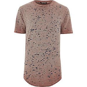 Only & Sons - Rood T-shirt met strepen en verfspetterprint