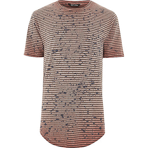 Red Only & Sons stripe splatter print T-shirt
