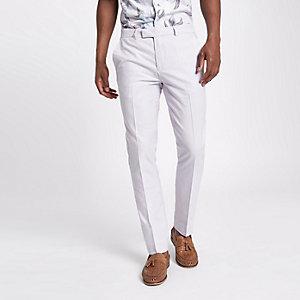 Paarse skinny-fit nette broek