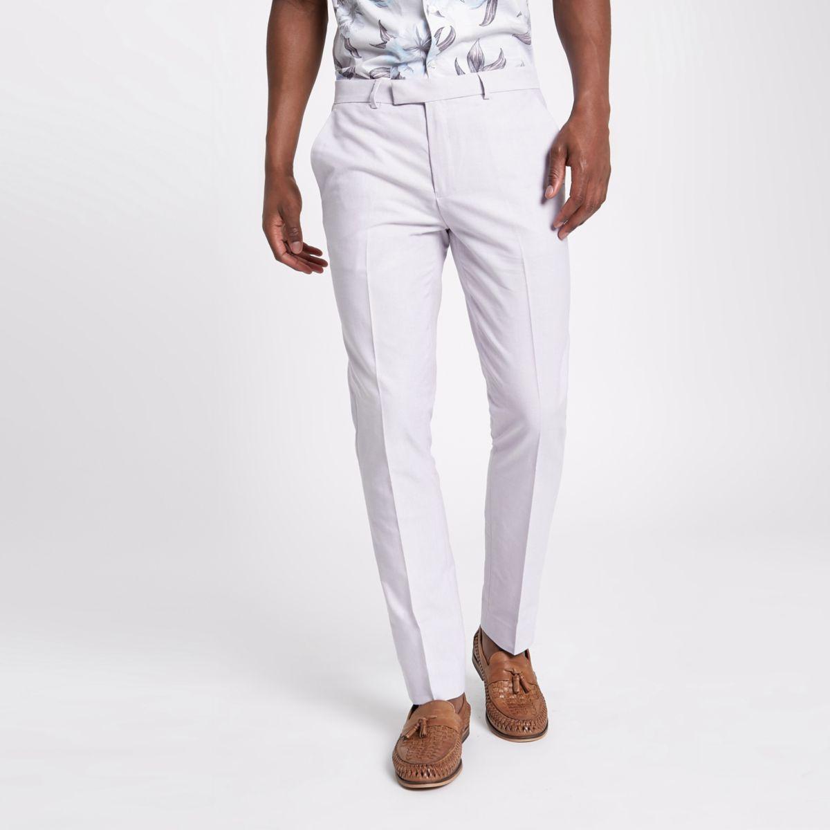 Purple skinny fit smart trousers